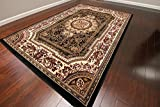 Feraghan/New City Transitional French Floral Wool Persian Area Rug, 2' x 3', Black