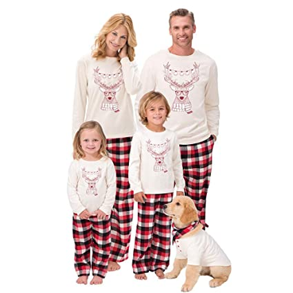 9527e881de WensLTD Family Matching Christmas Pajamas Set - Long Sleeve Cotton Deer Tops  and Plaid Striped Pants