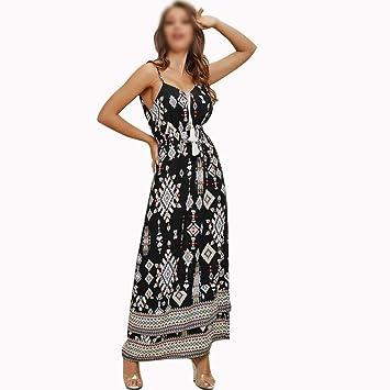ZSRHH-Falda Vestido de Mujer Vestido Largo Floral con Correa de ...
