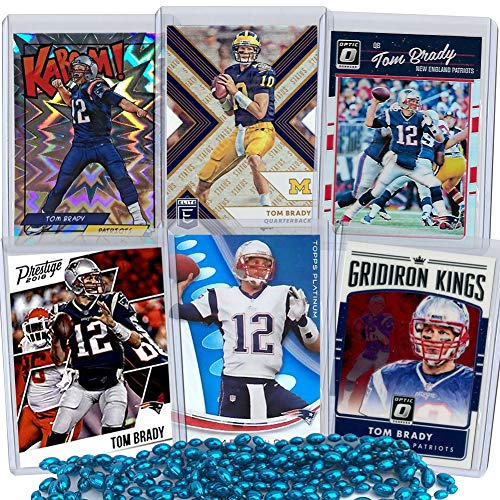 Tom Brady Football Card Bundle, Set of 6 Assorted New England Patriots and Michigan Wolverines Mint Football Cards of Quarterback GOAT Super Bowl Champion Tom Brady, Protected by Sleeve and Toploader