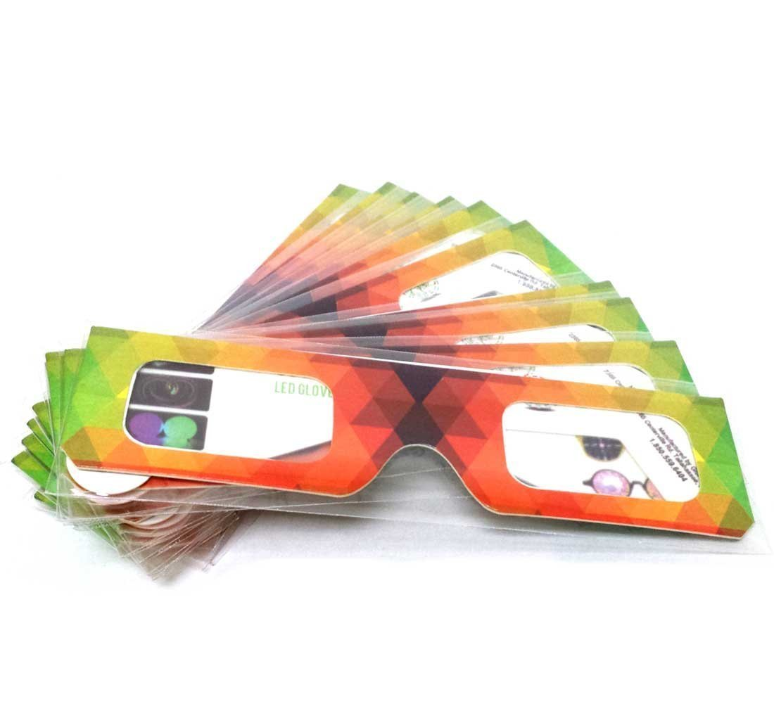 GloFX Paper Cardboard Diffraction Glasses - Geometric Rainbow - 100 Pack by GloFX (Image #3)