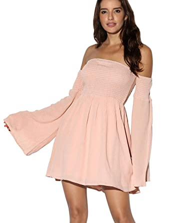 6d166a00580 Azalosie Women's Off Shoulder Mini Dress Bell Long Sleeves Shift Dresses  Smocked Ruffle Short Dress: Amazon.co.uk: Clothing