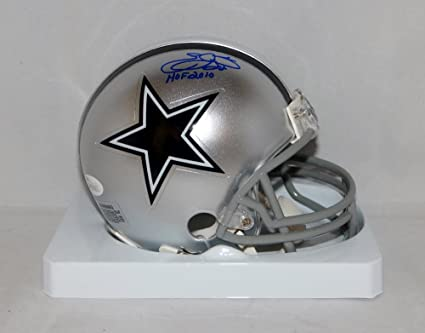799788408 Emmitt Smith Autographed Blue Dallas Cowboys Mini Helmet W  HOF- JSA W Auth