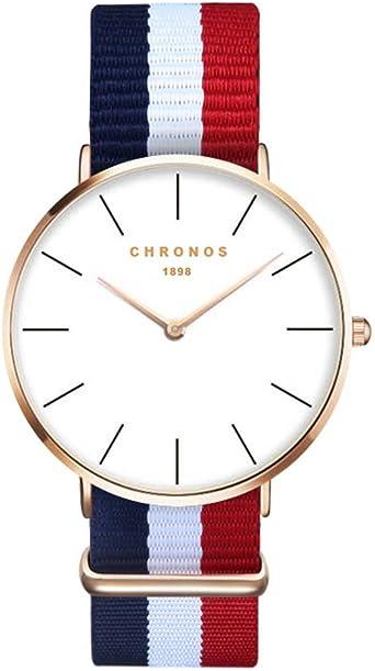 Relojes Mujer Ultradelgado Reloj Raya Nylon Casual, Azul-Blanco ...