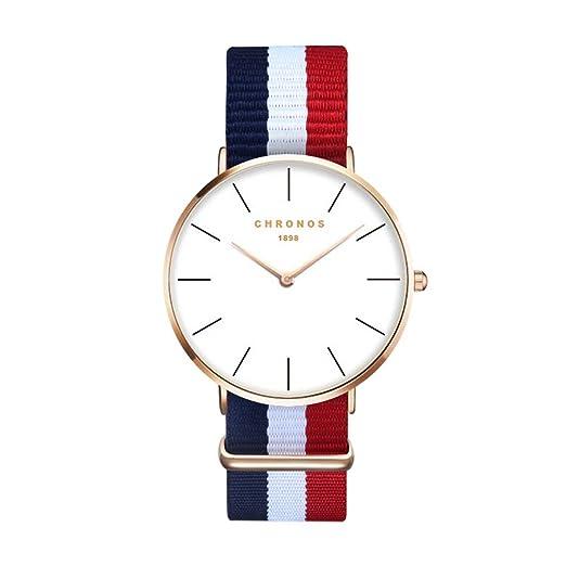 Moda Simple Relojes para Hombre Mujer - Correa de Textil de Nylon Multicolor Ultra-Delgado Échelle Linéaire Relojes de Pulsera para Señores Señoras, ...