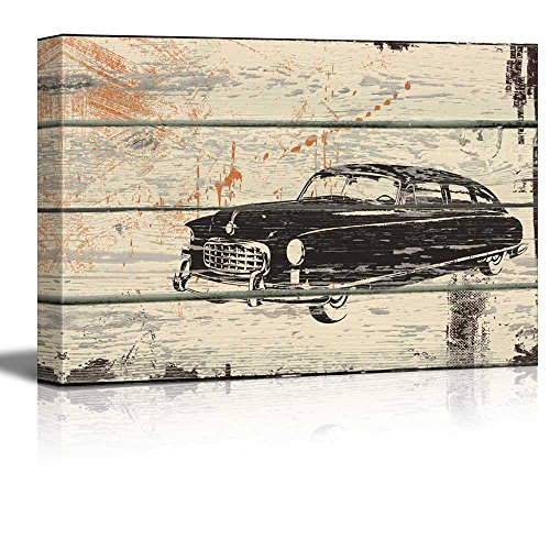 Retro Car Print White Wall Tires Artwork Rustic