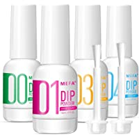 MEFA 4pcs Dip Powder Gel Liquid Set with Activator, Base, Top, Brush Saver 0.5oz, Dipping Powder Acrylic Nail Manicure…
