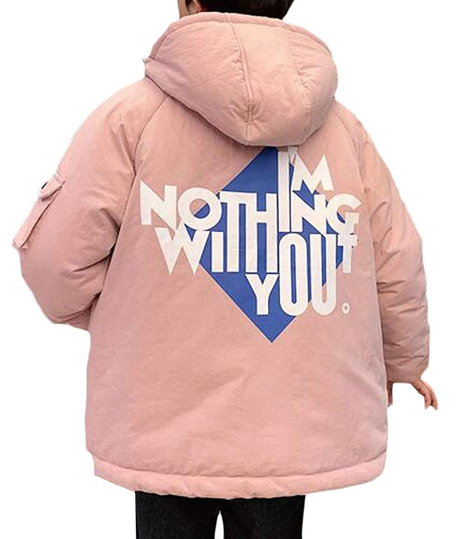 YYG Men Hooded Thermal Winter Thickened Floral Print Down Coat Jacket Outerwear