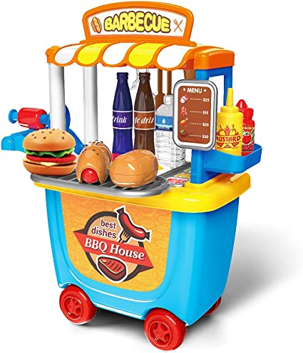 Amazon Com Nemore Kitchen Set For Kids Bbq Grill Toy Play Kitchen For Toddlers Bbq Cart Play Set Activity Kitchen Pretend Food Playset Trolley Truck Toys Toys Games