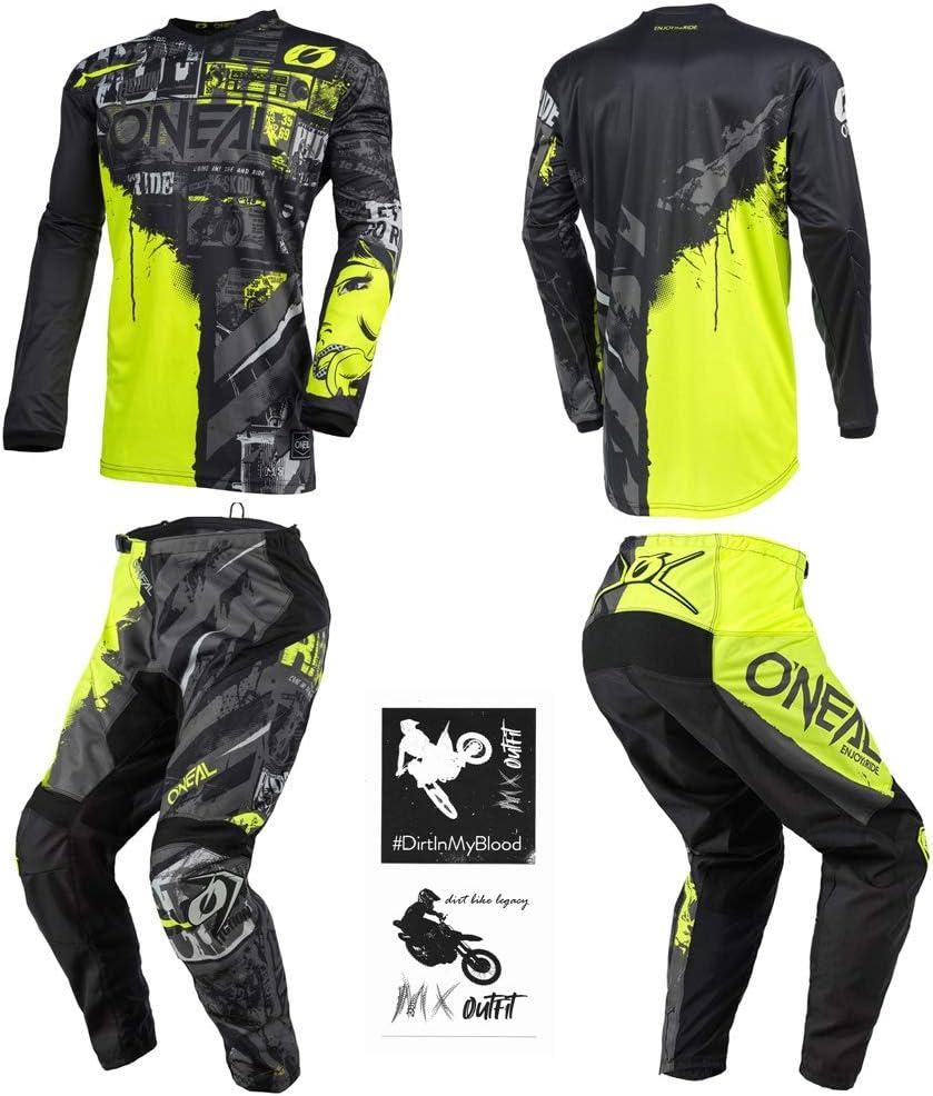 Pants 8//10 ONeal Element Ride Black//Yellow Neon Kids//Youth motocross MX off-road dirt bike Jersey Pants combo riding gear set 24 // Jersey Kids Medium