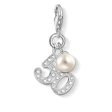 Thomas Sabo Women-Charm Pendant 50 Charm Club 925 Sterling silver Zirconia White freshwater pearl 1241-167-14 KUP26NTxnI
