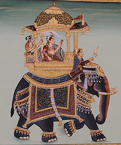 Mughal Miniature Royal Art Handmade Ambabari Elephant Stonecolor Ethnic Painting Lively to Decor Your Home Hotel Office Bedroom Lobby or Living Room by Handmade (Image #2)