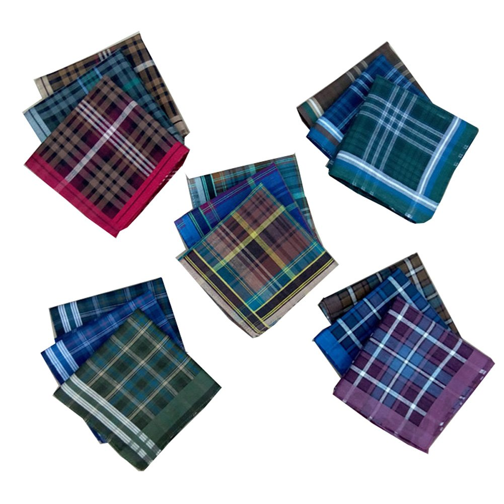 Forlisea Men Plaid FanceCotton Handkerchief Hanky Gift Assorted Set