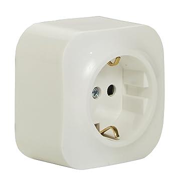 Aufputz-Steckdose (1-fach), 2-polig mit Schutzkontakt und ...