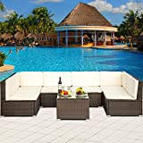 Leisure Zone Rattan Patio Furniture Set Wicker Sofa Cushioned Sectional Furniture Set Garden Patio Sofa Set (7-Pieces, Brown)