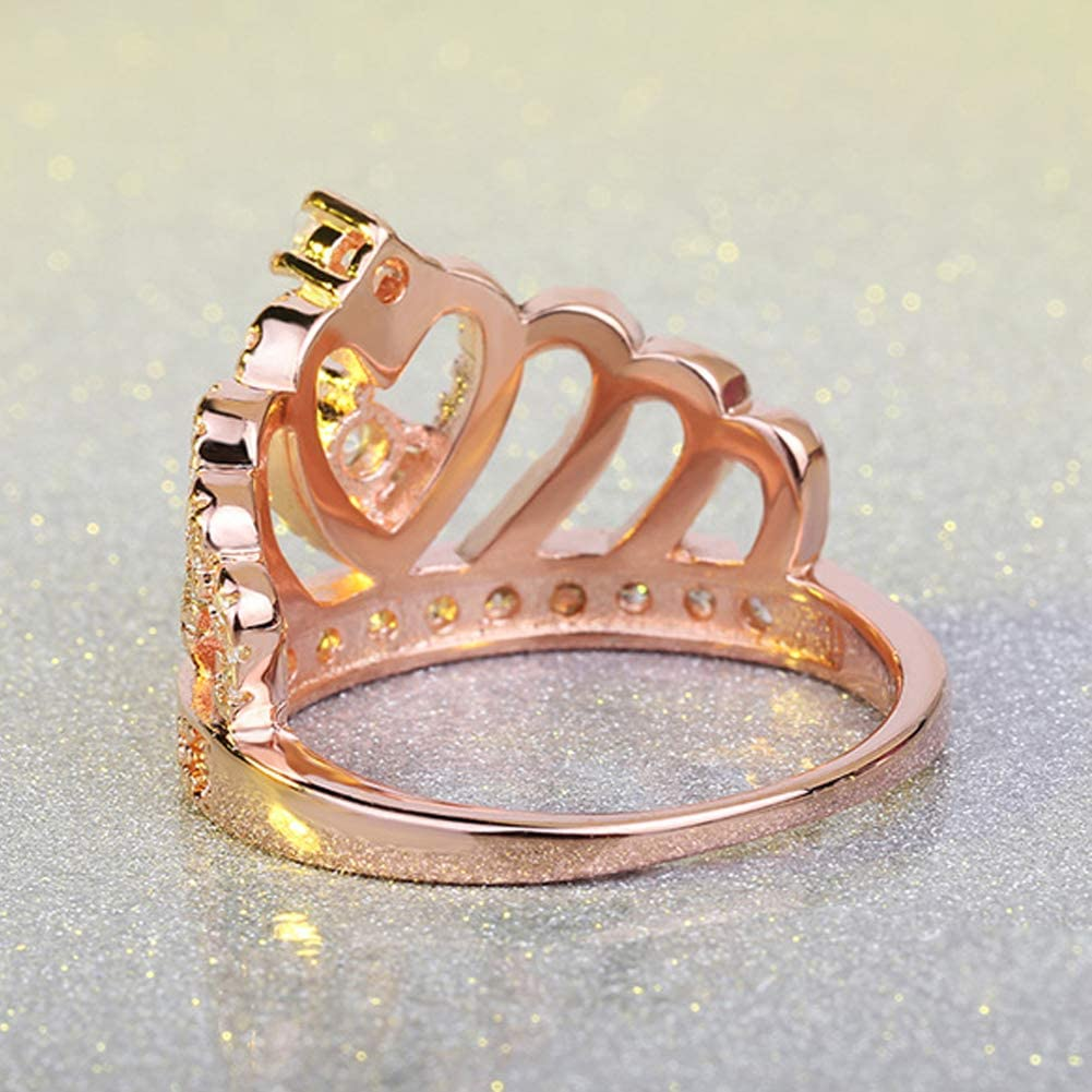 Ailianer Princess Queen Crown Rings for Women Girl Heart-Shaped Ring Zircon Jewelry Gold//Rose Gold//Silver Ring 5 6 7 8 9 10 11 12