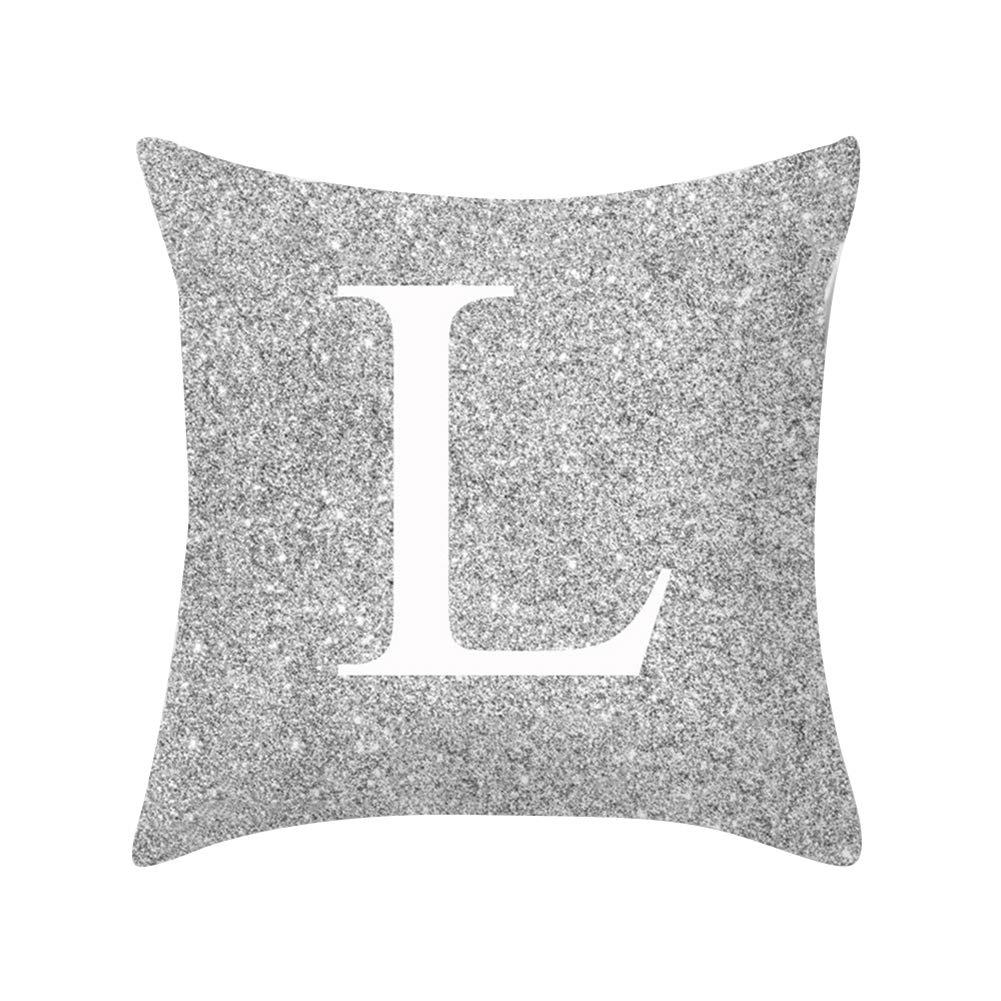 Verlike A-Z Lettere Argento Metallizzato Throw Pillow Case Cuscino Divano Letto Decor A