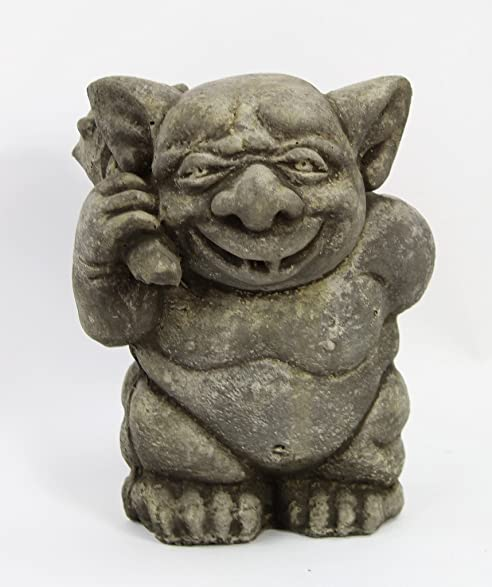 Ogre With Mace Ball Concrete Garden Statue Outdoor Troll Cement Figurine  Mystic Sculpture
