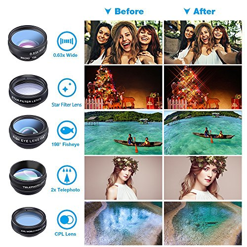 Cell Phone Camera Lens Kit by Ailuki with Professional Telephoto Lens,Wide Angle Lens+Macro Lens+Fisheye Lens, Selfie Remote Control+Tripod for iPhone Samsung Galaxy Most of Smartphone and iPad by AILUKI (Image #1)