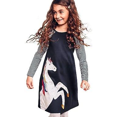 YanHoo Ropa para niña Vestido de Fiesta de la Princesa del Estampado de la Raya del ...