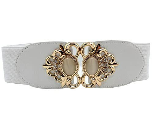 SaiDeng Mujeres Color Puro Vintage Elástica Ajustable Accesorios Cinturon Ancha Correa Cinch Blanco