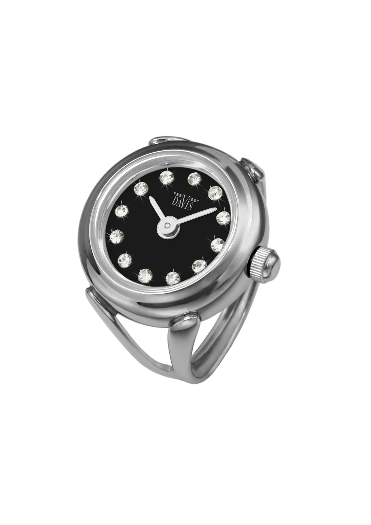 Davis - Womens Finger Ring Watch Swarovski Crystal Rhinestones Sapphire Glass Adjustable (Steel / Black Dial)