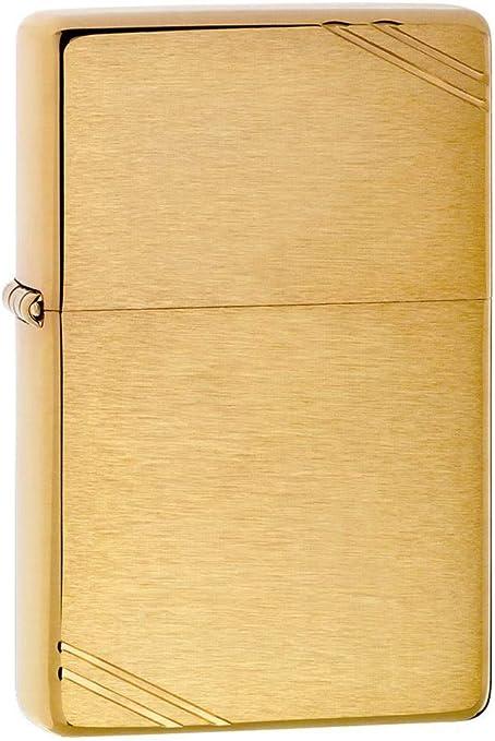 Zippo Vintage Brushed Brass Lighter - Mechero, Color Brushed Brass ...