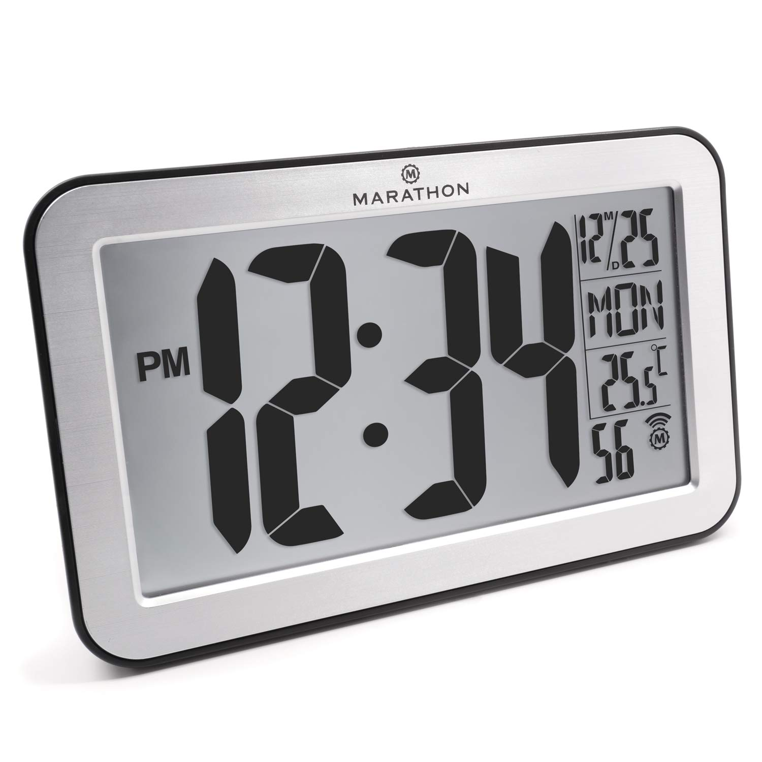 Marathon Commercial Grade Panoramic Atomic Wall Clock with Table Stand - Batteries Included, Color-Brushed Silver, SKU-CL030033SV