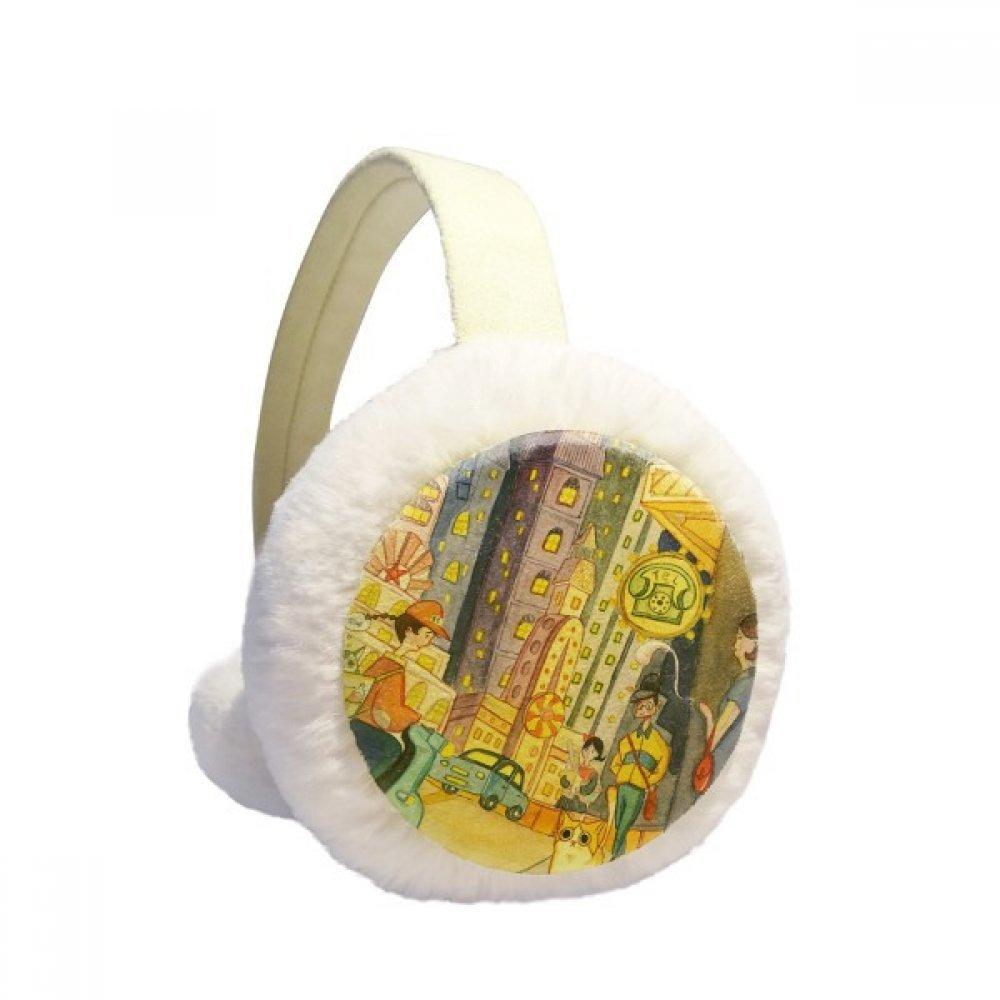 Miaoji Painting Watercolor Cat City Town Winter Earmuffs Ear Warmers Faux Fur Foldable Plush Outdoor Gift