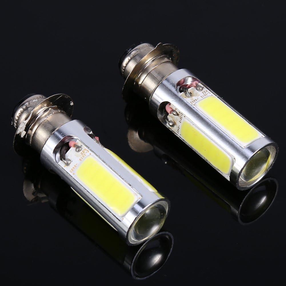 2pcs LED Phares Moto Ampoules Keenso Super Lumineux H6M PX15d P15D25-1 C0B Antibrouillard DC12V 20W Lampe PX15d P15D25-1 6000 K pour Moto//VTT Blanc