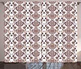 Ambesonne Vintage Curtains Floral, 60's Geometric Flowers Leaves and Petals Bohemian Style Pattern Print, Living Room Bedroom Window Decor, 108 W X 84 L 2 Panels Drapes Set, White Brown Grey