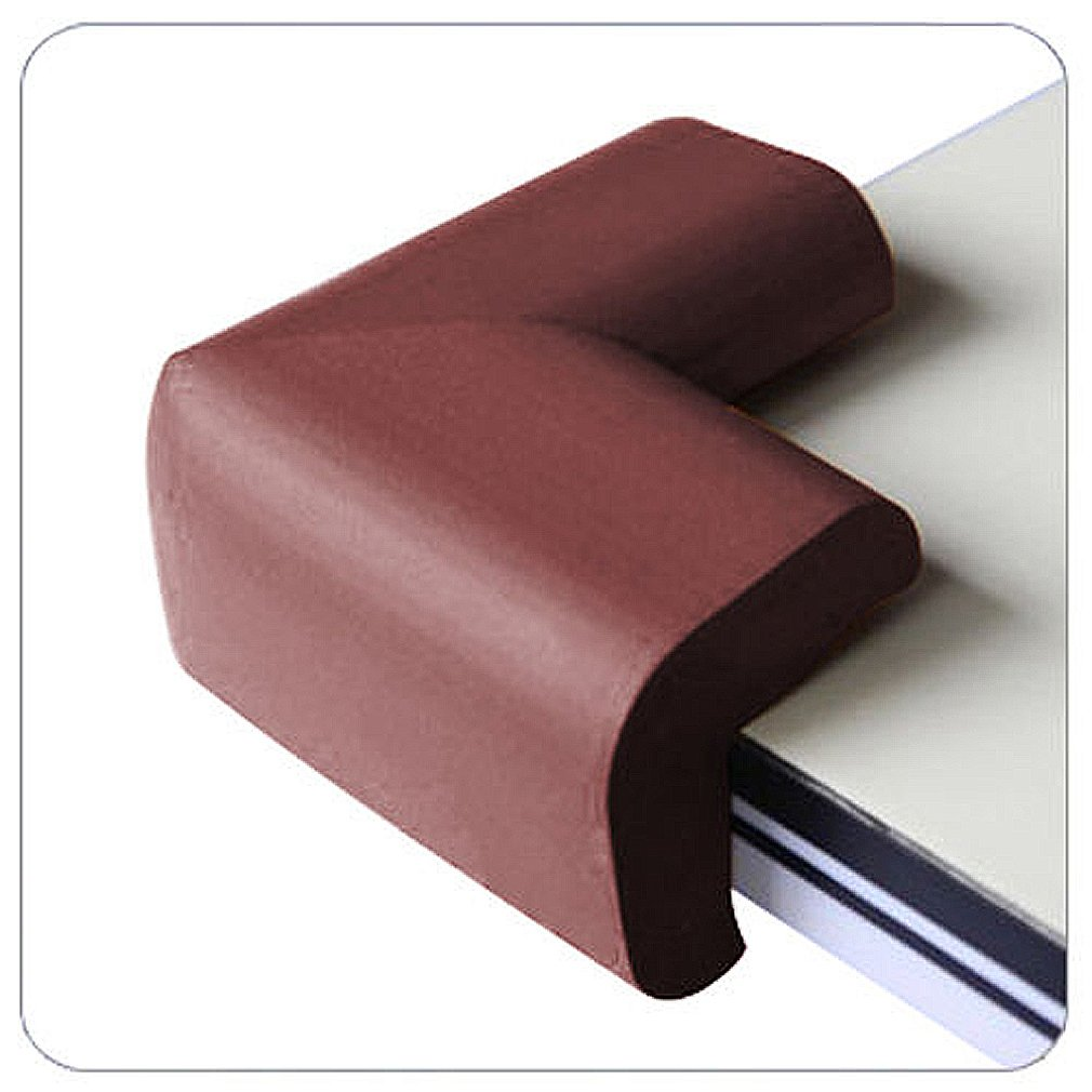 SODIAL(R) 04 x BABY SAFETY CORNER CUSHIONS - DESK TABLE COVER PROTECTOR - SAFE FOR CHILD-Brown