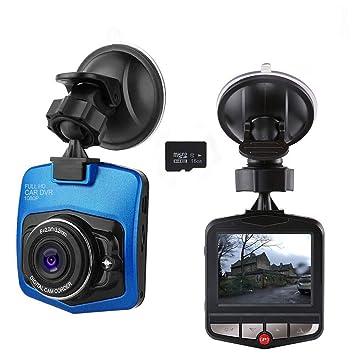 Mini cámara de salpicadero para coche con grabadora de cámara de salpicadero, Full HD 1080P con tarjeta SD de 16 GB incluida con sensor G Loop ...
