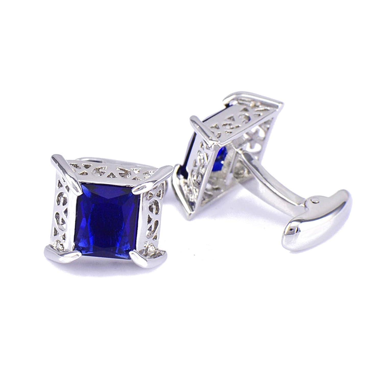 Blau Weiß Silber Manschettenknöpfe Quadrat Hochzeit Manschettenknöpfe