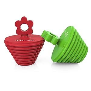 Silyconyc Tub Stopper for Bathtub | Universal Bathroom Sink Drain Plug Bath Stopper 2 Pack - Silicone (Green and Red)