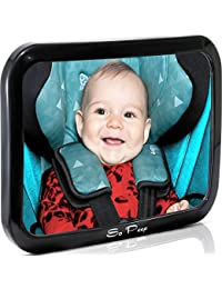 Baby Backseat Mirror for Car - View Infant in Rear Facing Car Seat - 100% Lifetime Satisfaction Guarantee - Best Newborn Safety With Secure Headrest Double-Strap - Essential Car Seat Accessories BOBEBE Online Baby Store From New York to Miami and Los Angeles