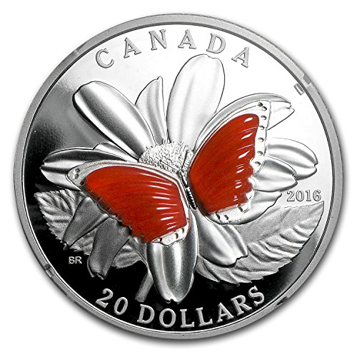 (2016 CA 1 oz Proof Silver $20 Butterfly Wings (w/Agate) 1 OZ Brilliant Uncirculated )