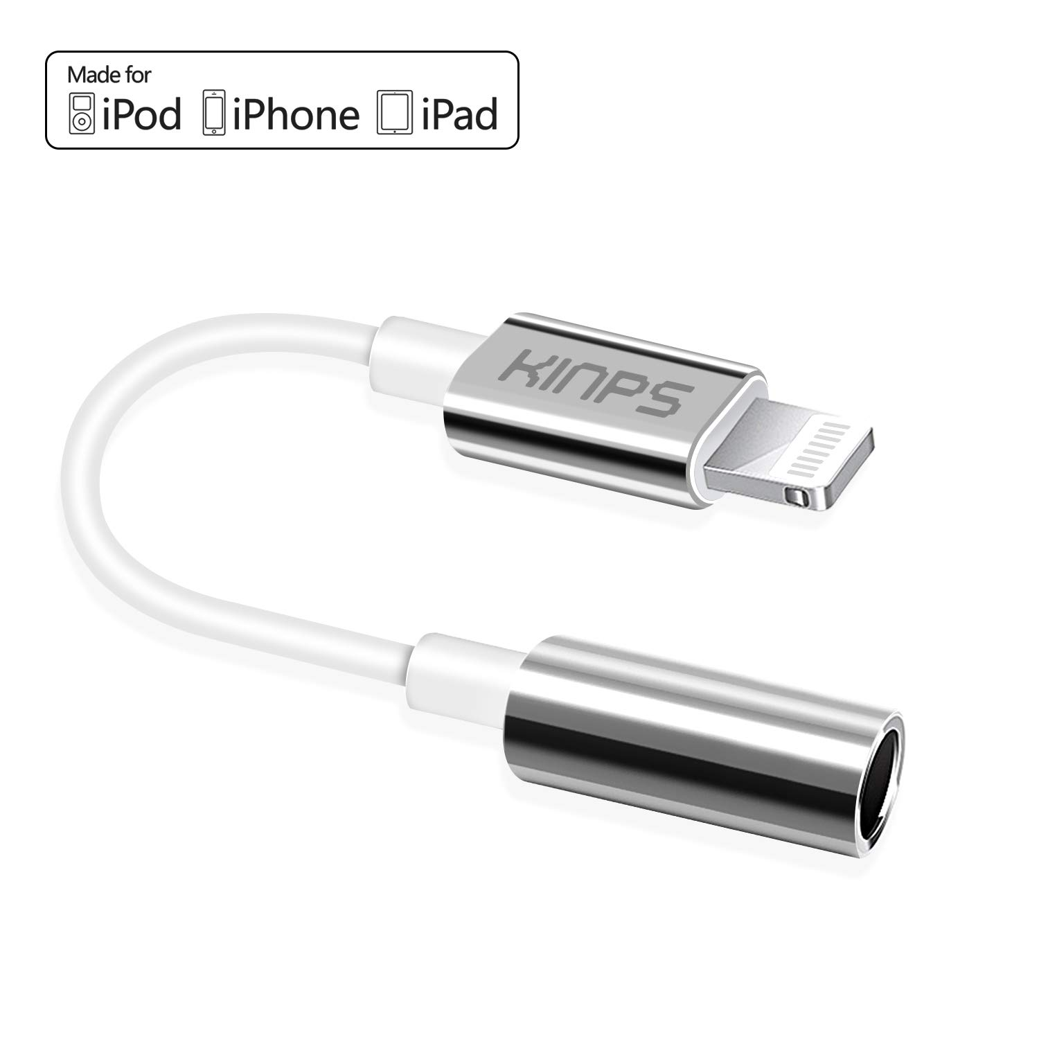 KINPS Apple MFI Certified Lightning to 3.5 mm Headphone Jack Adapter Compatible with iPhone 11 Pro Max/11 Pro/11/XS Max/XS/XR/X/8 Plus/8/7 Plus/7 (White-TPE)