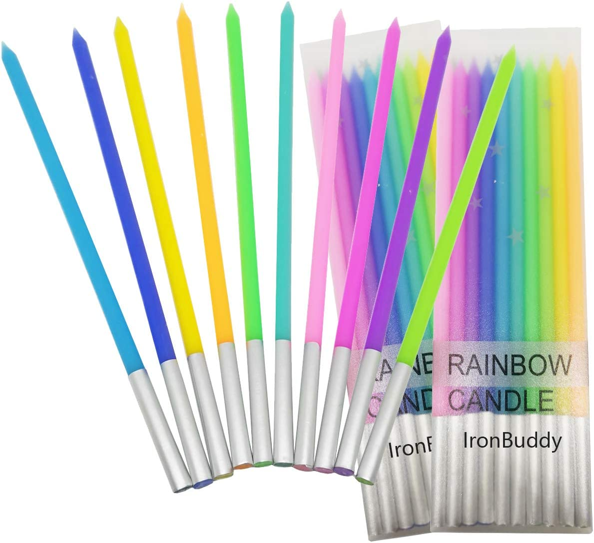 IronBuddy 30 Count Cake Candles Long Thin Cake Candles Metallic Birthday Candles in Holders for Party Wedding Birthday Cake Decorations (Rainbow Color-2)