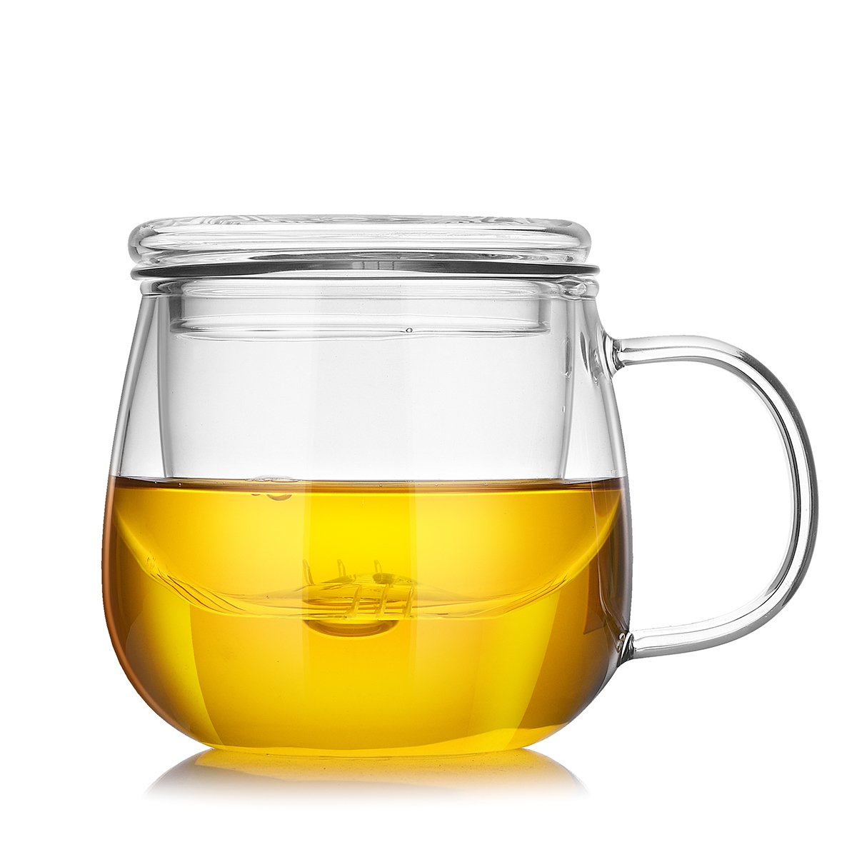 Cupwind 17 Ounce Glass Teapot with Infuser Tea Filtering Leaf Loose Maker Cup with Lid