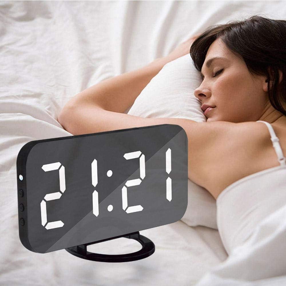 Funzione Superficie speculare 12 //24ore Display Sfondo a Grande cifra 3 Luminosit/à Regolabile Grande Luce Notturna Orologio Digitale USB Alimentato Snooze Bianco OXoqo Sveglia Digitale