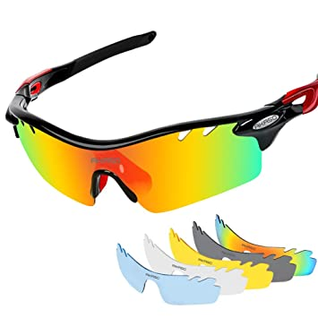 51933a5c53d AKASO Men s Chameleon Multisport Polarized Sunglasses with 5  interchangeable lenses and 100% UV Protective Cycling