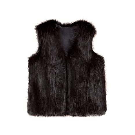 HOMEBABY Baby Girl Faux Fur Waistcoat Winter Warm Baby Kids Clothes Girls Sleeveless Jacket Winter Body Vest Coat Fluffy Thick Coat Casual Outwear for 3-8 Years