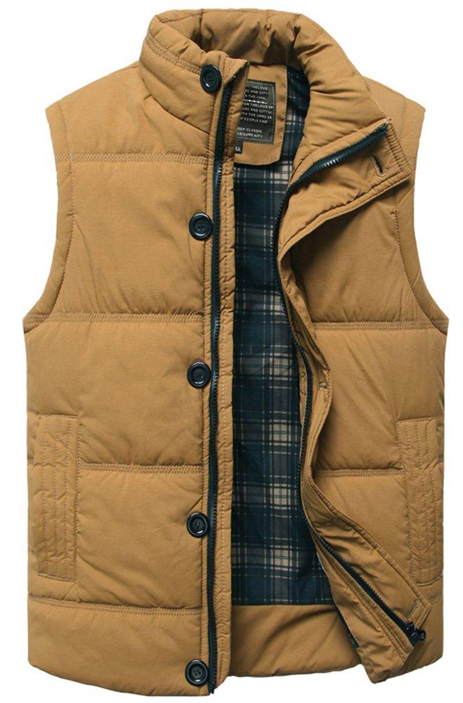 Men's Stylish Padded Body Warmer Puffer Vest Active Bodywarmer Gilet(Gift Idea) Khaki US L(Asian XXXL)