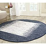 Safavieh Montauk Collection MTK711L Hand Woven Ivory and Navy Cotton Round Area Rug, 4 Feet in Diameter (4-Feet Diameter)