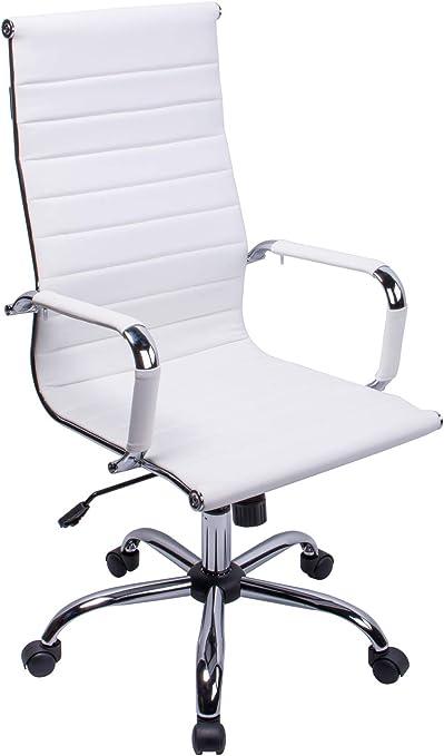 Exofcer Office Chair White Pu Leather Office Chair Desk Chair Computer Chair Height Adjustable Executive Swivel Chair White Amazon De Kuche Haushalt