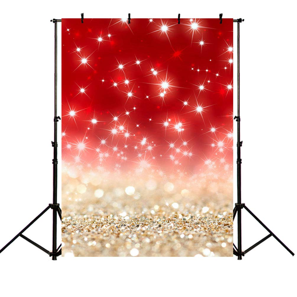 MEHOFOTO Glitter Red Christmas Stars Photo Studio Booth Backgrounds Props Bokeh Gold Sands Backdrops for Photography 5x7ft