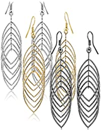 Women Jewelry Drop Dangle Earrings Set Diamond Cut Silver And Gold Plated 2 Pairs