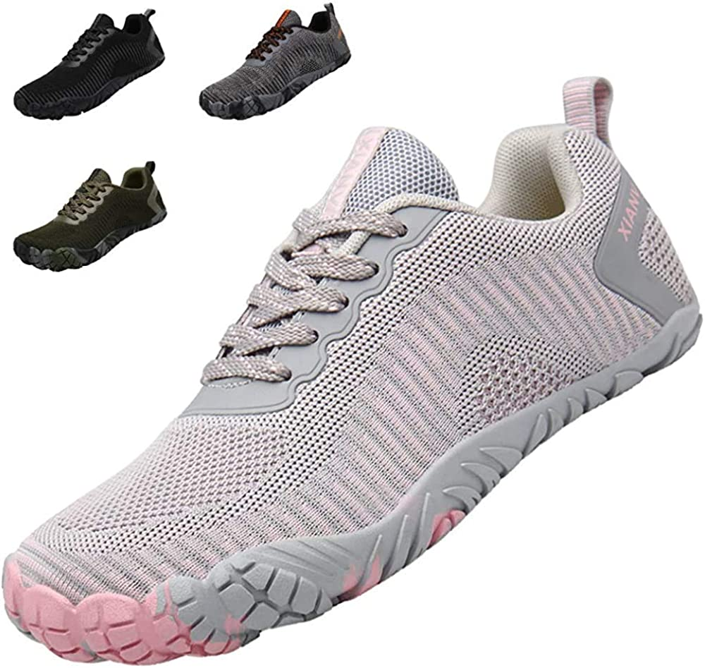 XIANV Herren Barfußschuhe Damen Wanderschuhe Trekkingschuhe Outdoor Traillaufschuhe Fitnessschuhe Knit Sneaker Grau Pink