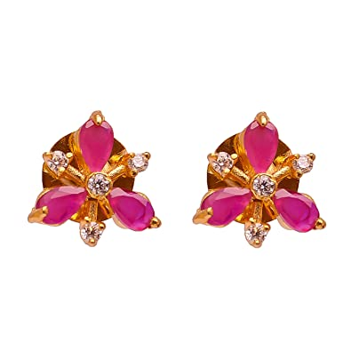 3536494b9 Buy Geode Delight Floral Design Pink Stone American Diamond Studs Earring  Online at Low Prices in India | Amazon Jewellery Store - Amazon.in